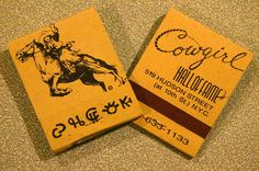 Cowgirl Hall of Fame. 20 stem book Match. Printed black ink on recycled paper.  Pic. By: Joe Danon. www.GetMatches.com