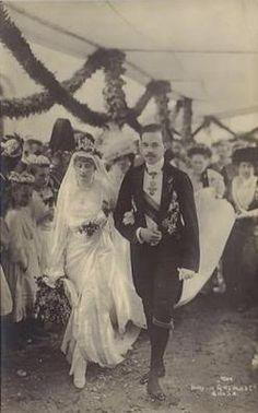 Sept 1913 King Manuel II & Queen Augusta Victoria of Portugal
