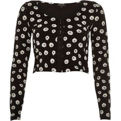 River Island Black daisy print hook and eye crop top ($14) ❤ liked on Polyvore featuring tops, crop tops, black, sale, t-shirts / tanks / sweats, women, crop top, black top, black long sleeve top and tall tops