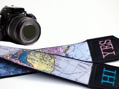 InTePro Personalized Camera Strap with World Map. Embroidered Camera Strap. DSLR / SLR Camera Strap.