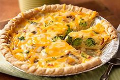 I will not add mushrooms (allergic)....this looks easy and good...This says:  Three Cheese Quiche