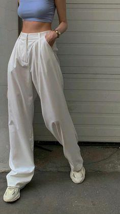 Celebrity Outfits, Teen Fashion Outfits, Fashion Pants, Flowy Pants, Loose Pants, Pleated Pants, Striped Pants, Dress Pants, Outfit Creator