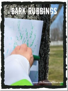 Bark Rubbings on the natural preschool playground. A great outdoor nature activi… Bark Rubbings on the natural preschool playground. A great outdoor nature activity for preschoolers. Earth Day Activities, Nature Activities, Autumn Activities, Learning Activities, Preschool Activities, Outdoor Activities, Preschool Playground, Outdoor Education, Outdoor Learning