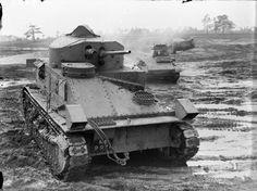BRITISH ARMY UNITED KINGDOM 1939-45 (H 257)   Vickers Medium Mk II tank at Bovington Camp in Dorset, November 1939. A Light Tank Mk IV can be seen in the background.