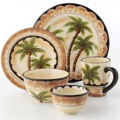 Every event will go swimmingly, with this Tabletops Unlimited Palm Tree dinnerware. The palm tree graphics bring the islands to any get-together. Tropical Kitchen, Tropical Decor, Tropical Interior, Tropical Dinnerware, Pineapple Palm Tree, Palm Tree Decorations, Hawaiian Decor, Dinner Plate Sets, Dinner Ware