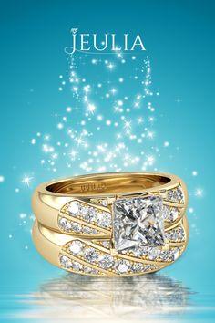Yellow Gold Princess Cut Created White Sapphire  Sterling Silver Women's Ring #jeulia