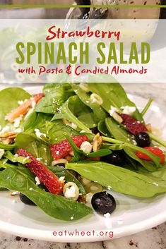 Looking for a refreshing salad to take to your next backyard BBQ? Strawberry Spinach Salad with Pasta and Candied Almonds is sure to be a crowd pleaser! This salad hits all the marks and can be served as a side dish or with grilled chicken for an entrée. Lunch Recipes, Summer Recipes, Easy Dinner Recipes, Salad Recipes, Easy Recipes, Spinach Strawberry Salad, Spinach Salad, All You Need Is, Salads For A Crowd