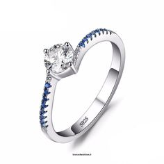 Round 0.7ct Created Blue Nano Ring  Vendor:  Leonardwatches          Type:            Price:              7.66                          Metals Type:  Silver    Occasion:  Engagement    Setting Type:  Prong Setting    Side Stone:  None    Metal Stamp:  925