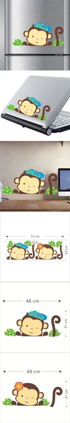 Hot 3D Funny Monky Wall Stickers For Kids Room Refrigerator Animal Home Decor Decals Cute Gifts For Baby Cartoon Diy PVC Art $3.28