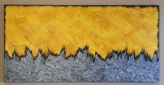 """""""Inferno"""" acrylic painting of bright yellows and oranges with high contrast of black and silver. Large painting to fit your home decor! Large Painting, High Contrast, Habitats, Wall Decor, Bright, Sky, Home Decor, Silver, Black"""