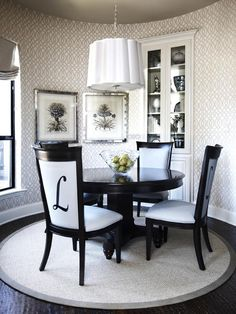 Gorgeous Dining Room! Love the monogrammed chairs. http://www.hgtv.com/designers-portfolio/room/transitional/dining-rooms/7348/index.html#//room-dining-rooms/color-neutral?soc=pinterest