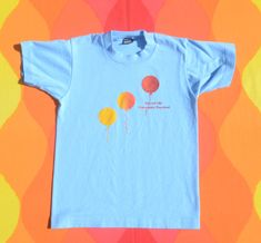 663ac24ae vintage 80s kid tee RAINBOW balloon screen stars t-shirt youth 10 Medium 12