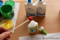 If you want to make a stiff puffy paint for decorating glass, CD's or plastic surfaces, mix 2 parts white glue with 1 part acyrlic paint.