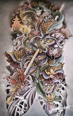 Irezumi, Asian Tattoos, Japanese Tattoo Designs, Samurai Tattoo, Asian Style, Illustration, Anime, China, Tattoo Art