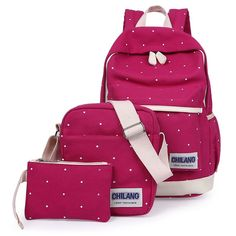 Main Material: Canvas Decoration: Letter Gender: Women Pattern Type: Dot Capacity: 20-35 Litre Carrying System: Arcuate Shoulder Strap Backpacks Type: Softback Closure Type: Zipper Lining Material: Po