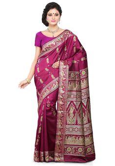 Buy Magenta Pure Baluchari Silk Handloom Saree with Blouse online, work: Hand Woven, color: Magenta, usage: Wedding, category: Sarees, fabric: Silk, price: $257.78, item code: SQGA44, gender: women, brand: Utsav