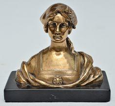 "ALONZO, DOMINIQUE - Linda escultura francesa em bronze ormolu representando ""Busto feminino"""