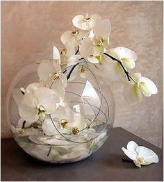 Centre de table (orchidée, vase boule, fil d'aluminium, eau, galets)