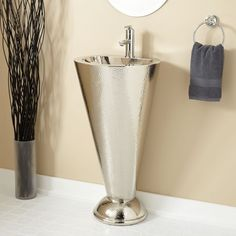 Buy the Signature Hardware 271327 Nickel Direct. Shop for the Signature Hardware 271327 Nickel Column Nickel-Plated Copper Pedestal Sink with Single Faucet Hole and save. Modern Pedestal Sink, Pedestal Sink Bathroom, Modern Bathroom Sink, Modern Sink, Bathroom Ideas, Modern Vanity, Small Bathrooms, Bathroom Interior, Basin Sink