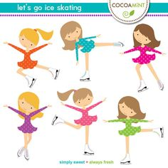 Let's Go Ice Skating Clip Art by cocoamint on Etsy, $4.00