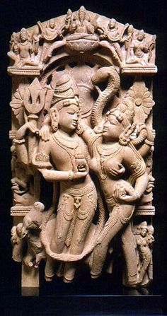 """The Marriage of Shiva & Parvati. Northern India, Western Rajasthan or Uttar Pradesh. Second half of the 10th century. Pink Sandstone. 81cm."""