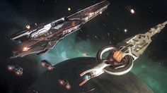 Elite Dangerous -- A still from the first in-engine footage of Elite: Dangerous released by Frontier. In the clip, two capital ships face off as fleets defending each one attempt to turn the tide of the battle.