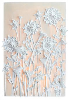 24x36 White on White Floral By: Justin Gaffrey