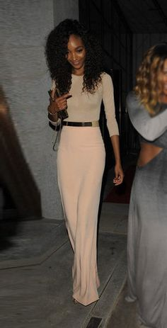 Cream 3/4 Slv Top + Pink Maxi Skirt + Gold Metal Plate Belt + Clutch