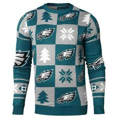 c342fb50ab0 Philadelphia Eagles NFL FC Midnight Green   Gray Knit Patches Ugly Sweater