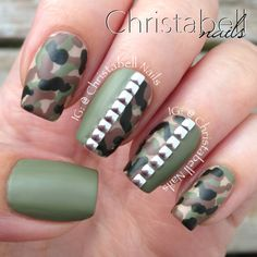 ChristabellNails Camo Nails Tutorial with Studs