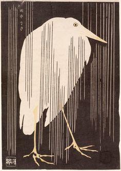 Japanese Aesthetics Kawanabe Kyosai, White Heron in the Rain, colour woodblock print, Japan, 1880