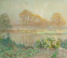 Emile Claus (1849-1924), Paysage à l'Etang.