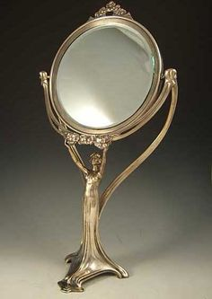 WMF: Polished silver-plate on pewter & bevelled glass mirror with Art Nouveau figural maiden