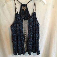 Embroidered Blue Flowey Tank Super cute top by Ecote. Purchased at Urban Outfitters. Flowey/ loose fit Ecote Tops Tank Tops