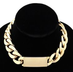 Rihanna Style Oversized Bold Gold ID Cuban Link 15 17 inch Choker Chain Necklace $20