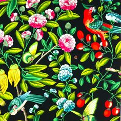 'Serendip' in Nuit, Manuel Canovas cotton fabric