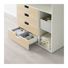 STUVA Changing table with 4 drawers - white/birch - IKEA