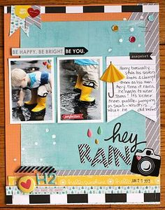 #papercraft #scrapbook #layout. Hey, Rain! gossamer blue
