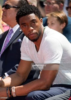 Actor Chadwick Boseman attends Stan Lee's hand and footprint ceremony at TCL Chinese Theatre IMAX, on July 18 in Hollywood, California. / Get premium, high resolution news photos at Getty Images Stan Lee, Black Is Beautiful, Gorgeous Men, Black Panther Chadwick Boseman, Get On Up, Vintage Black Glamour, Afro, Black Actors, Man Crush Everyday