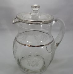 Maryland Glass Co Etch Pitcher 9 1/2 Diana and by ShellyisVintage