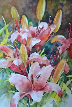 The second stage in my lily painting. Watercolor Cards, Watercolor Illustration, Watercolour Painting, Watercolor Flowers, Watercolors, Lily Painting, Art Aquarelle, Arte Floral, Learn To Paint