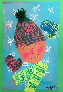 So I kinda sorta told the kids that if they painted and printed their winter selfies really well, we just might get the magic of snow. Snow seems to elude us in these parts...but not this year. Turns