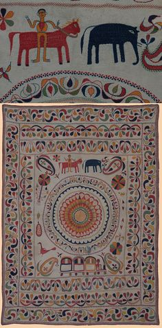 """Antique Kantha Embroidery from Bengal Textile. 1800-1900 A.D Size 46"""" x 33"""" Size 117 x 84cm"""