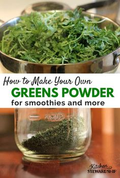 Preserve spring greens like kale, spinach, chard, collards, and other greens? Dehydrating is the easiest process imaginable PLUS make your own DIY homemade green powder to add to smoothies. Dehydrated Vegetables, Dehydrated Food, Healthy Foods To Eat, Healthy Eating, Healthy Recipes, Homemade Hashbrown Recipes, Super Greens Powder, Green Powder, Kale Powder