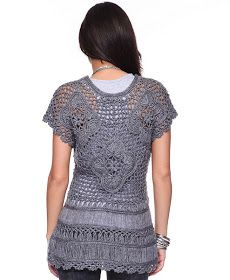 Outstanding Crochet: Crochet gray top. Unknown brand.