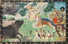 Durga Slaying Mahisha, c. 1830 India, Pahari, Sirmur, 19th century