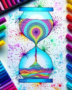 hourglass workout routine Ok so heres another not officially planner related, but come on! How can sine_art be so talented I would soooooo but a coloring book of her creation. Doodle Art Drawing, Zentangle Drawings, Cool Art Drawings, Mandala Drawing, Colorful Drawings, Zentangles, Zentangle Art Ideas, Cute Doodle Art, Doodling Art