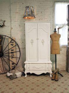 shabby white armoire