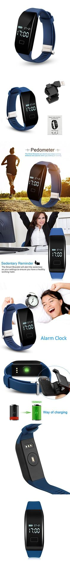 Diggro H3 Heart Rate Activity Tracker Smart Bracelet Fitness Tracker Wristband with Pedometer Calorie Sleep Monitor Sedentary Reminder for Android IOS (Blue)