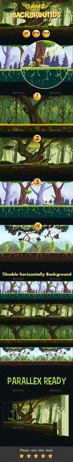 4 Cartoon jungle Game Backgrounds  - Backgrounds Game Assets